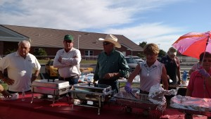 People who came to enjoy the Mayor's Pancake Breakfast in 2015 were greeted by Councilman Geno Withelder, Congressman Cresent Hardy, Councilman George Rapson and Virgin Valley Water District Board Vice President Barbara Ellestad. Photo by Stephanie Frehner.