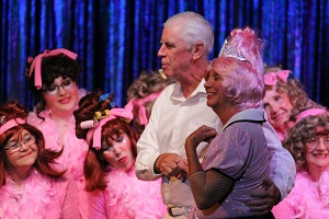 John Sadler sings to the 'Beauty School Drop Out' Donna Eads while the rest of the Mesquite Toes Musical Theatre Ensemble sport their not-quite-complete beauty school coiffures.  Photo by Teri Nehrenz.