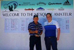 Winner Nick Page of Montgomery, Texas, stands alongside Christian Adderson, Mesquite Amateur tournament director and corporate sales manager for Mesquite Gaming during the 14th annual Mesquite Amateur event in Mesquite, Nevada on Friday, June 3.