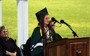 Virgin Valley High School Class of 2016 Valedictorian Madisyn Glieden presented an address in rhyme which she thought would be nice to entertain rather than bore the audience with a traditional speech.  Photo by Teri Nehrenz