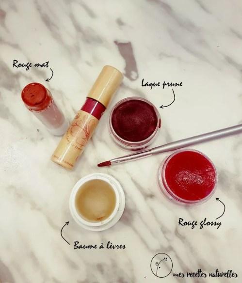 Rouges à lèvres maison : rouge mat, rouge glossy, laque prune