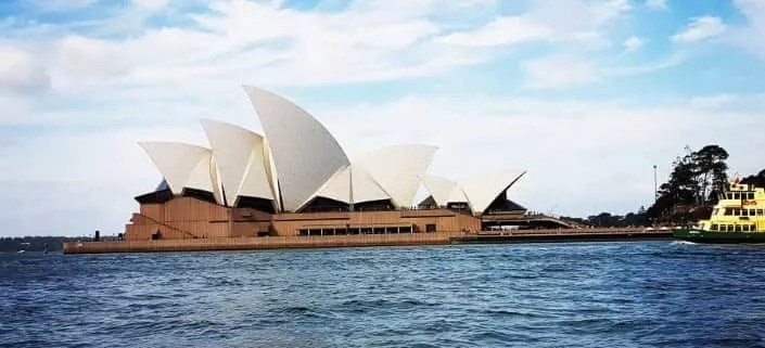 Sydney opera house from the sea