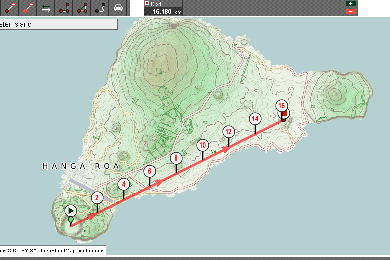 distance volcan = 16.180 km