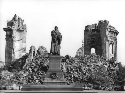 Frauenkirche Dresden Ruins, 1958. From Wikimedia Commons.