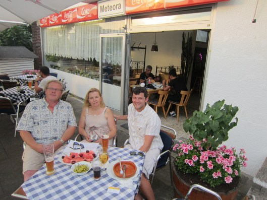 Me, Sabine, and Thorsten Falke at Meteora Grill in Dusseldorf