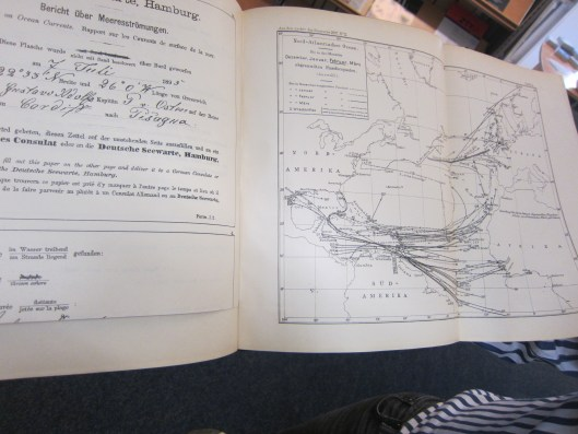 Old Chart of Ocean Currents from Messages in Bottles and Flaschenpost Data