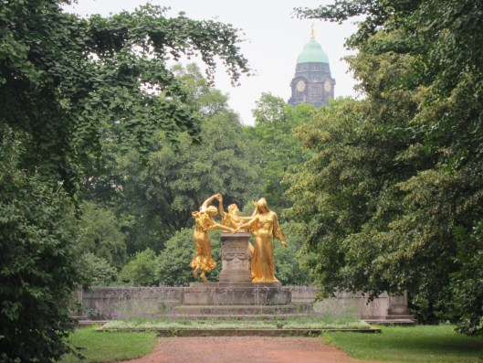 Golden Statue in Dresden Park