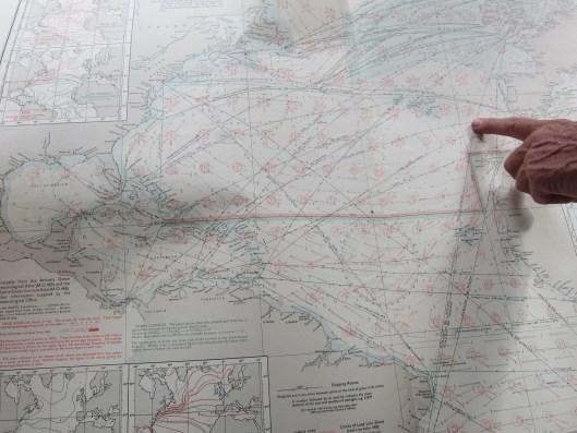 Map of current for Sara II Atlantic crossing.