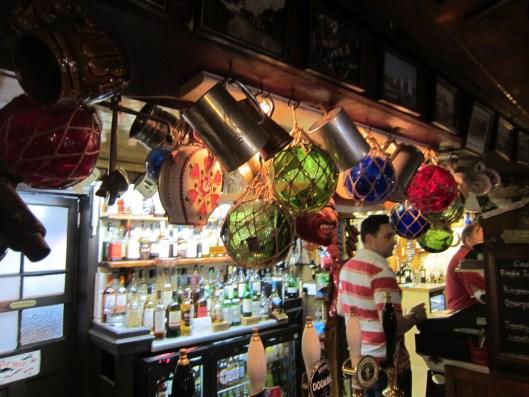 Glass buoys / floats inside the Gun Inn.