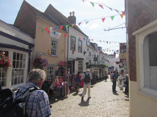Old town of Lymington on a Market Day.