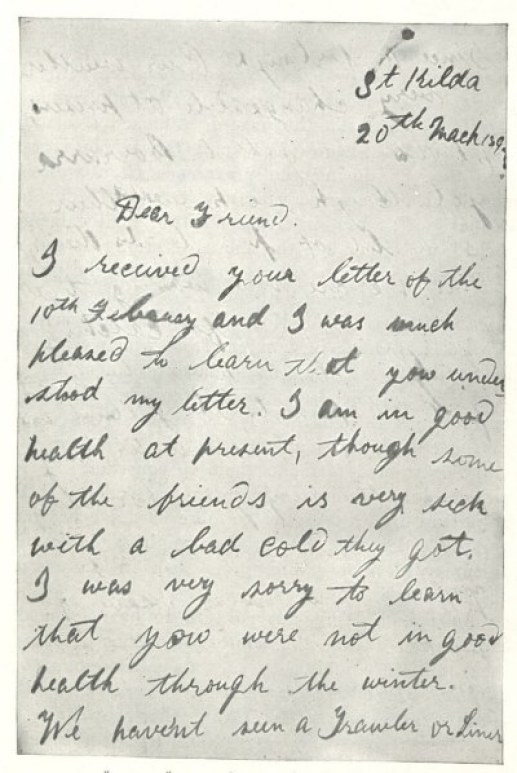 St. Kilda letter to Richard Kearton part one