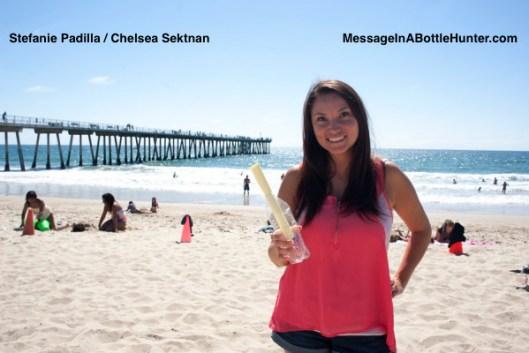 Stefanie Strobel with Message in a Bottle - Flaschenpost on Beach