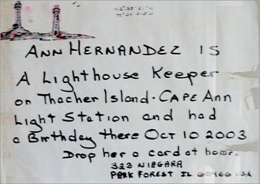 Ann Hernandez Message in a Bottle - The Lighthouse Keeper's Tale