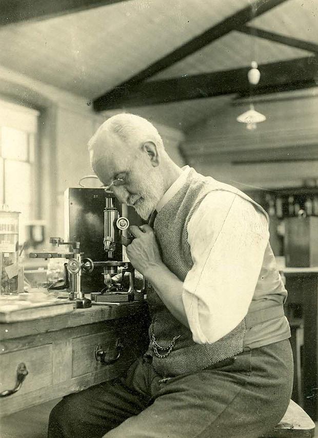108 Year Old Message in a Bottle - George Parker Bidder at Microscope