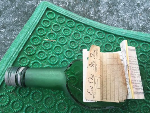Susan' Cordell's 40 year old message in a bottle after being broken open by MIkki Stazel who found it.