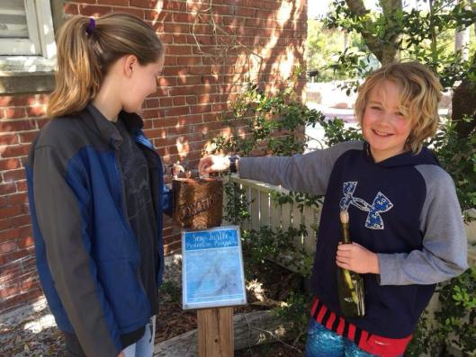 Spalding family donating $5 from #NolansGift message in a bottle to the Bald Head Island Sea Turtle Protection Program.