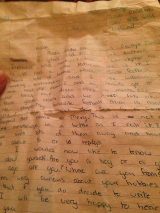 21 year old message in a bottle found by Chris Lewis.