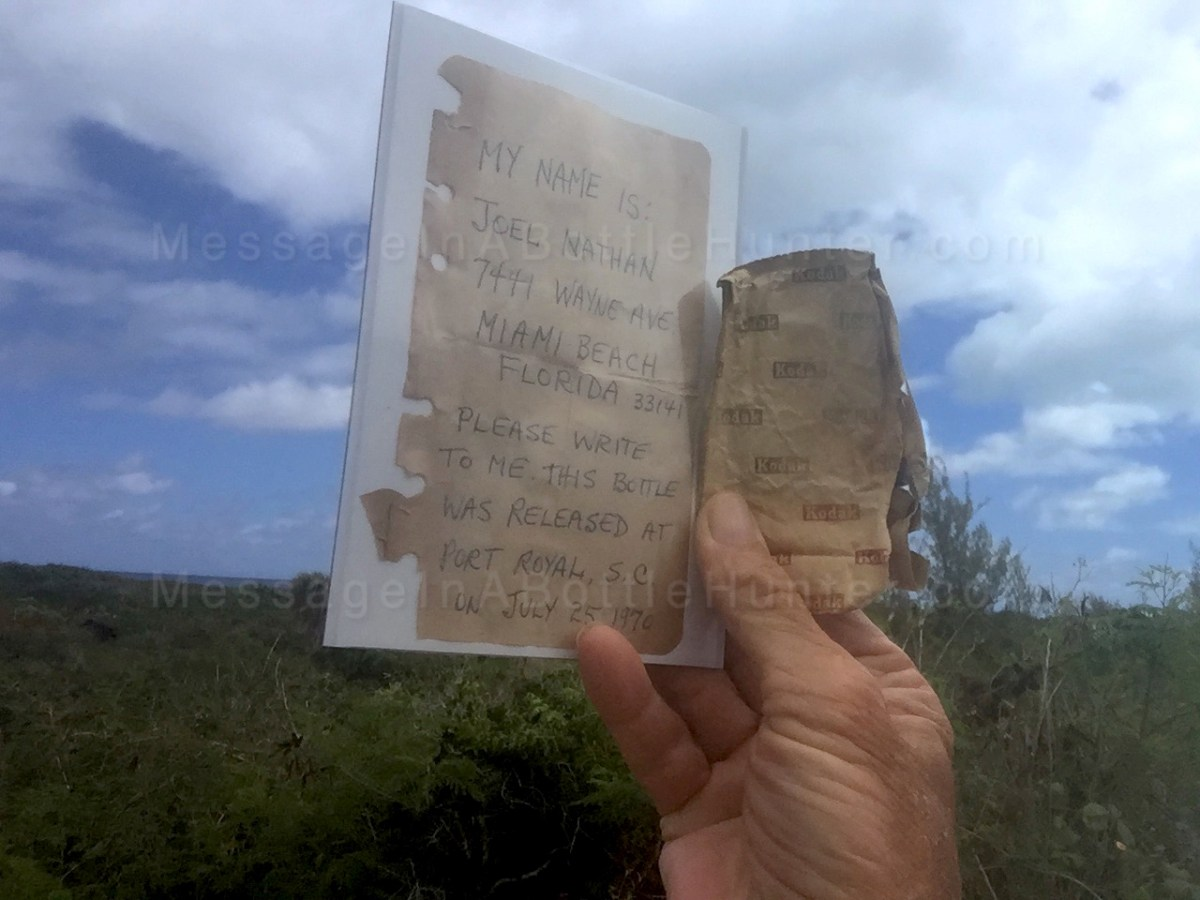 49 Year Old Message in a Bottle: Seeking Joel Nathan of Miami Beach!