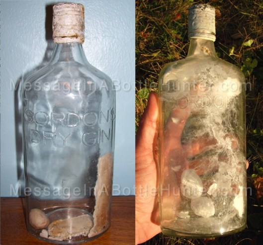 Side by side comparison of two hopeless messages in bottles.