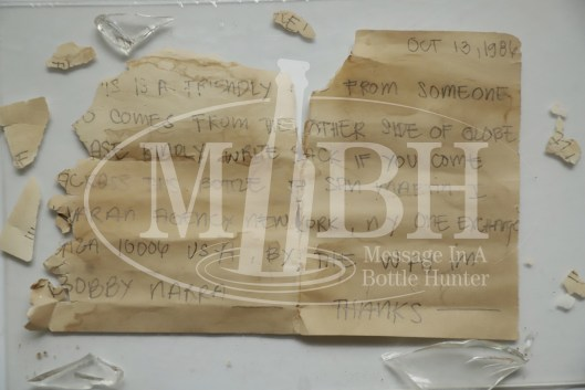 Close Up 2 of Cole Adams' 1986 Message in a Bottle