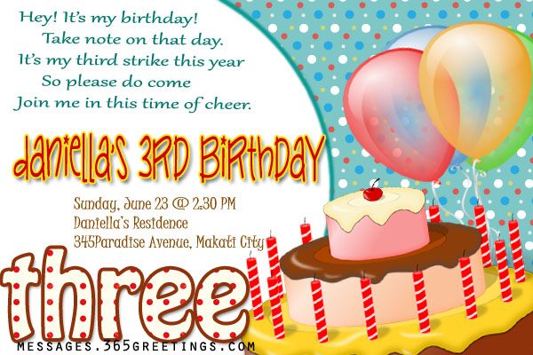 3rd Birthday Invitation Cards PaperInvite