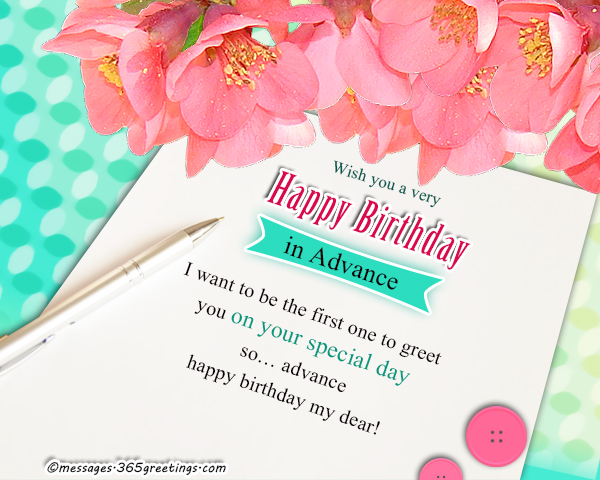 advance birthday wishes messages