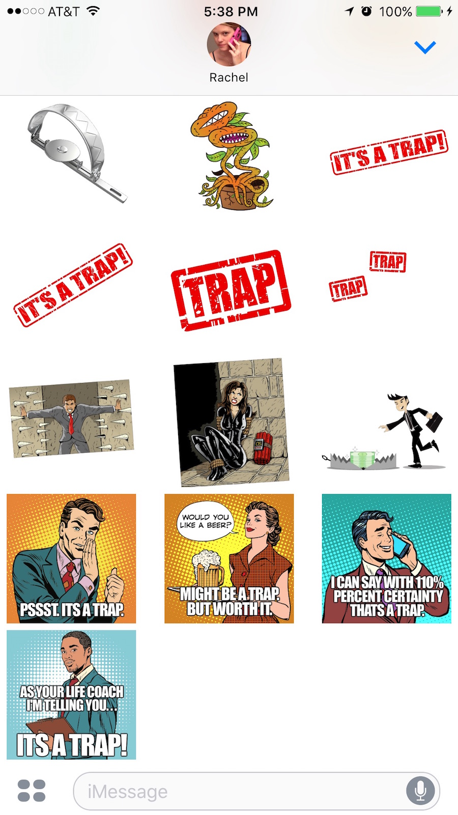 booby trap stickers for iOS messages