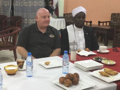 UN relief official Justin Brady with Sheik Mohamed of Ahlu Sunna Waljama'a (ASWJ), a group that controls parts of central Somalia, to discuss famine prevention in areas under their control, March 11th, 2017