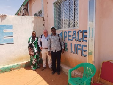 """Head of the UN Office for Coordination of Humanitarian Affairs Justin Brady with representatives of UNICEF Somalia and the Organization of Islamic Cooperation in Cadaado, Somalia, March 12th, 2017. """"The link between OIC and OCHA in Somalia is one of the strongest in the world,"""" says Brady."""