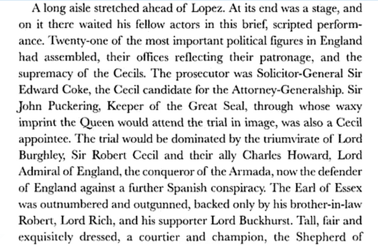 28 February 1594 Trial of Rodrigo Lopez finds him guilty