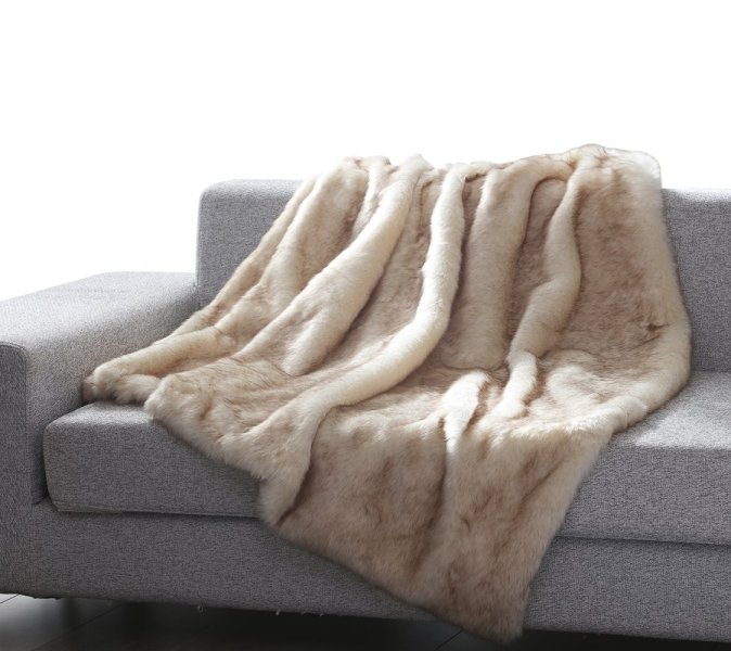 Dip dyed faux mink fur throw blanket in beige.