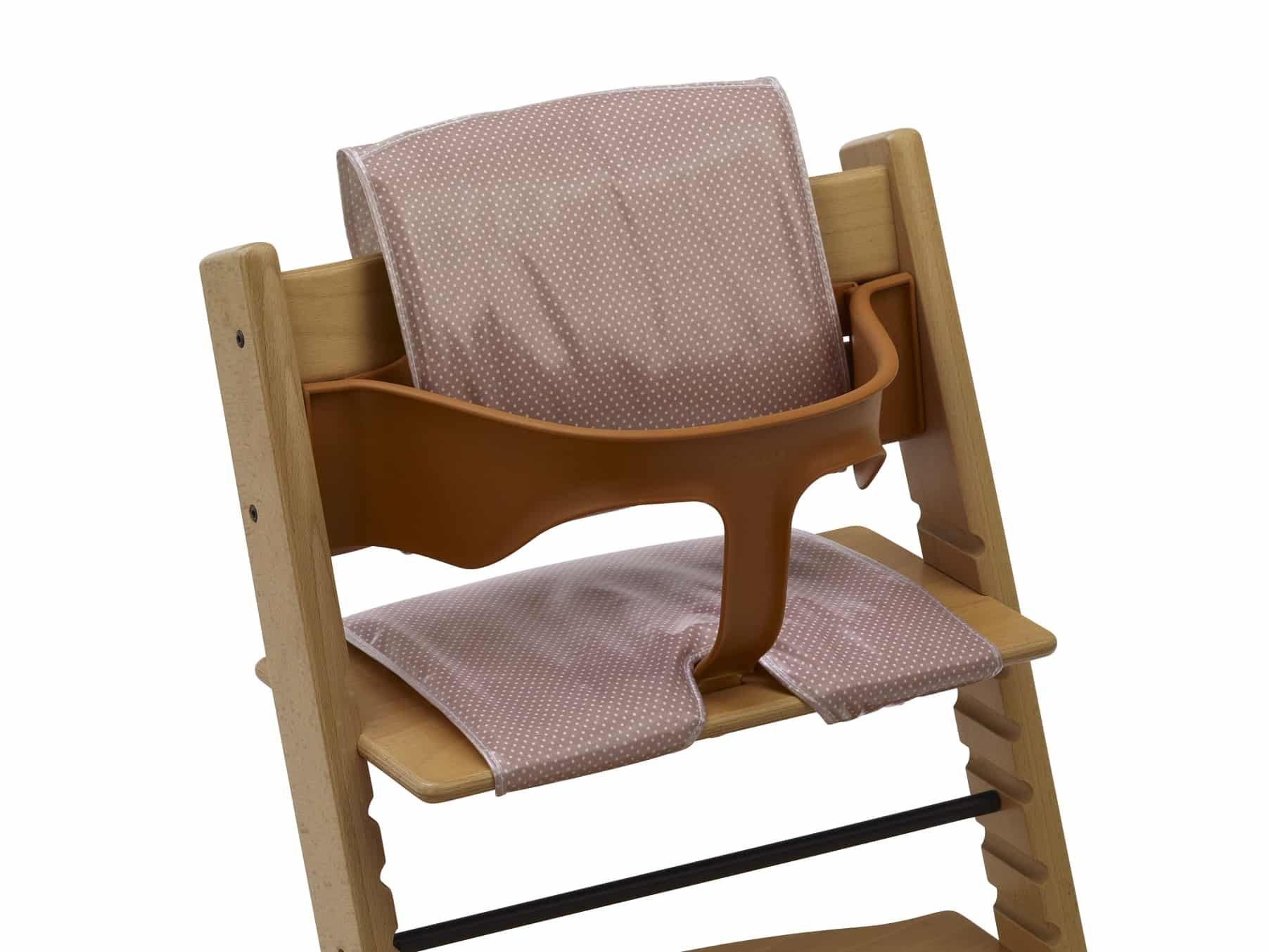 wooden high chair cushion folding cushions for chairs dusty pink dots