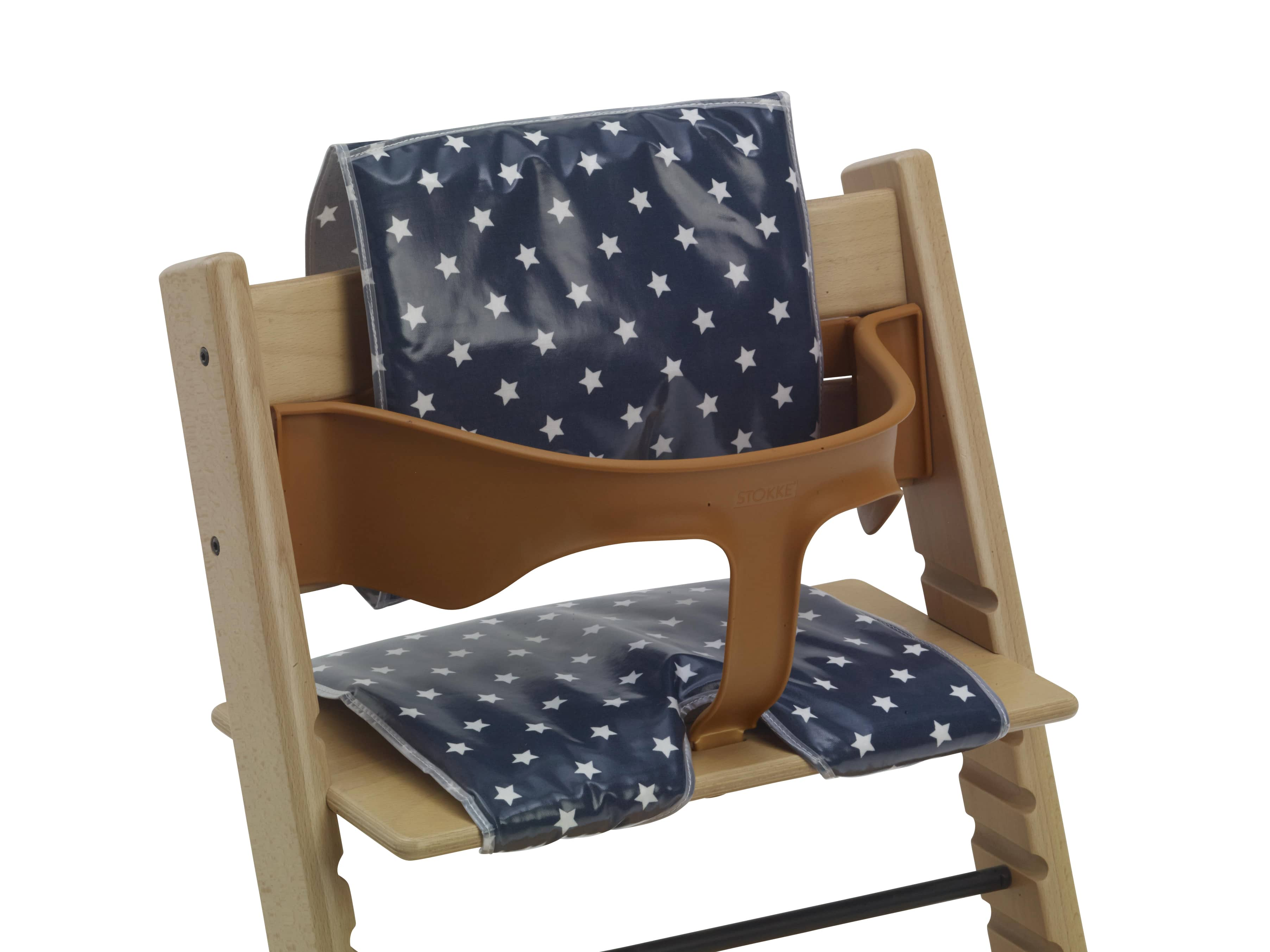 Easy Clean High Chair Cushions For Wooden High Chairs Navy Stars