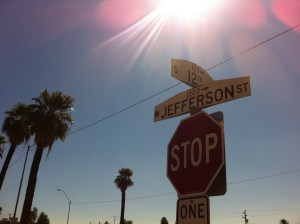 Street signs for 12th Avenue and Jefferson Street