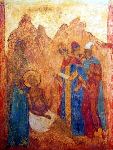 fresco depicting Job and his friends