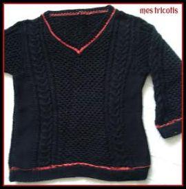 pull noir et rouge etienne