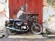 Ile Penang - Georgetown - Street art painting 'Boy on a bike'