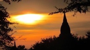 Bagan - Sur le chemin, coucher du soleil