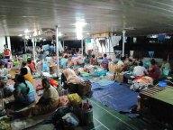 Voyage en bateau sur la Rivière Irrawaddy de Kata à Bhamo, sur le bateau, 'lit' prêt pour dormir