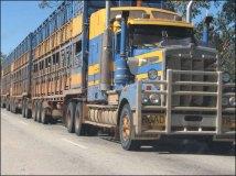 Sur la route entre Darwin et Alice Spring - Les longs camions (jusqu'à 4 remorques)