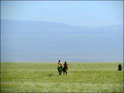 Sur la route, festival du Nadaam de village 'Course de chevaux', arrivée