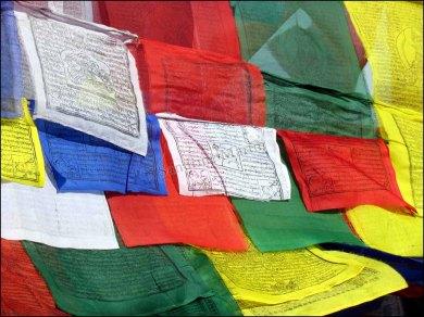 Katmandou - Temple 'Swayambhu', 'drapeau bouddhiste'