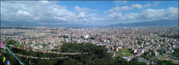 Katmandou - Temple 'Swayambhu', vue sur Katmandou, panorama