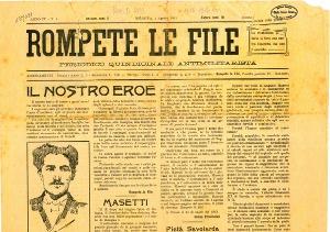 Break the files, un periódico antimilitarista anarquista con un artículo frente a Masetti en la portada.