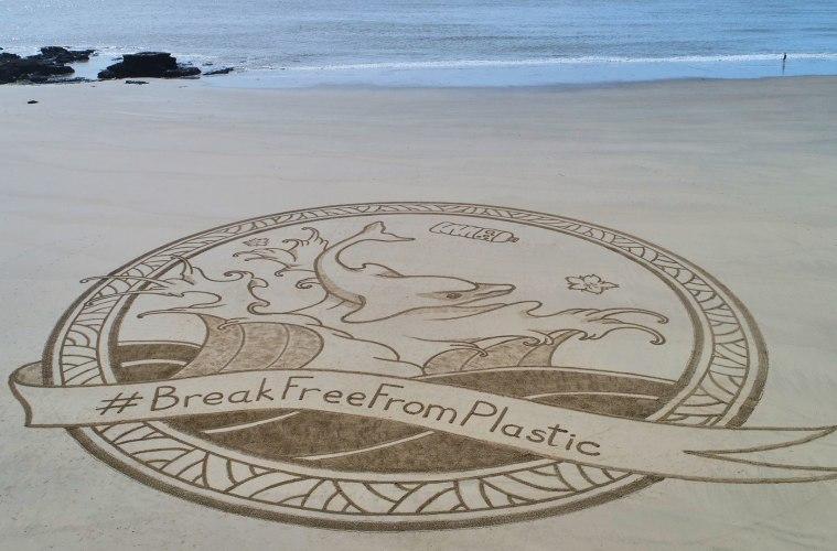Plastic pollution beach art France 3