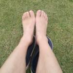 ウルトラマラソン1週間後、練習を再開するもペースが遅く、足の甲が腫れ休養。