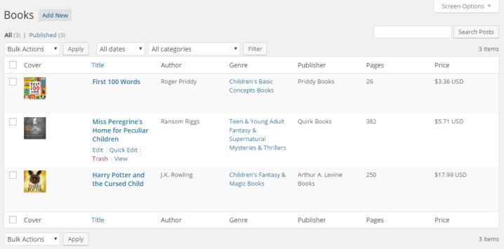 Sample admin columns for Books