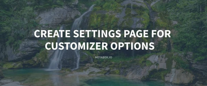 Create Settings Page for Customizer Options