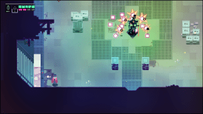 """Fights like this one can quickly drift into crowded """"bullet-hell"""" regions, making it sometimes hard to keep track of the action onscreen. Deaths are frequent and part of the experience."""