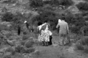 Imagen 4. Familias caminando hacia el lugar donde se hallaba la escultura, para visitarla